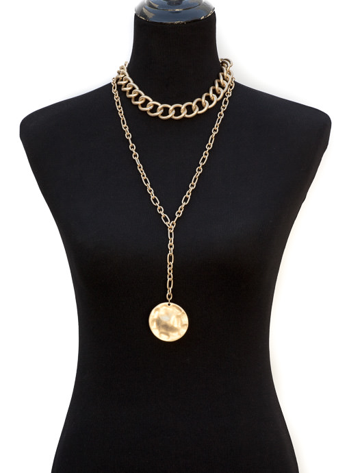 women's gold tone chain medallion pendant necklace