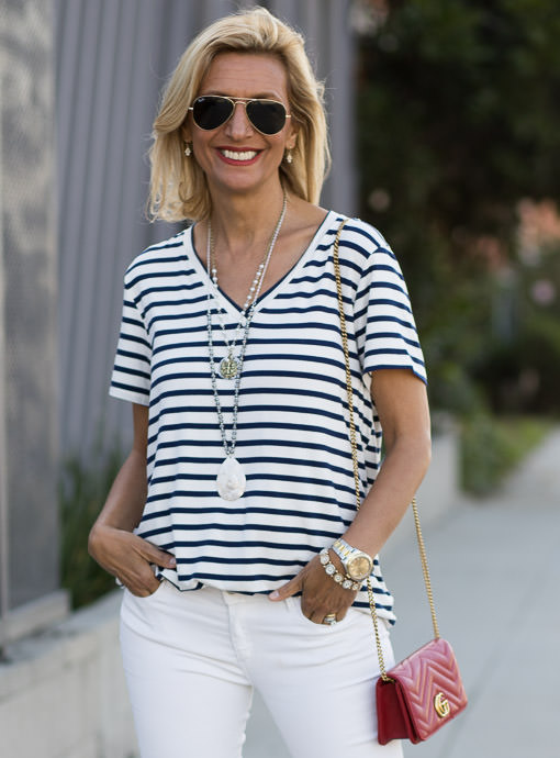 Navy Ivory Stripe V Neck T shirt