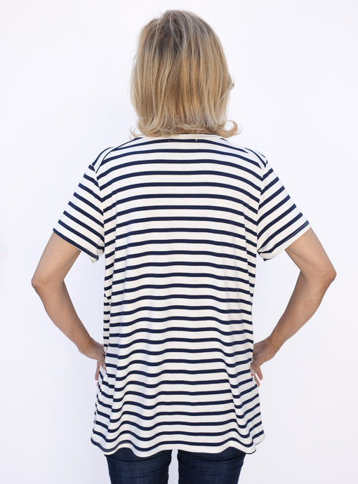 womens navy and ivory stripe short sleeve v neck Tee shirt