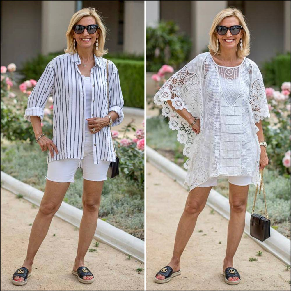 womens black and white stripe shirt and White lace Poncho top