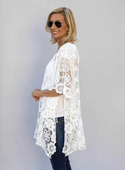 White Lace Poncho Top