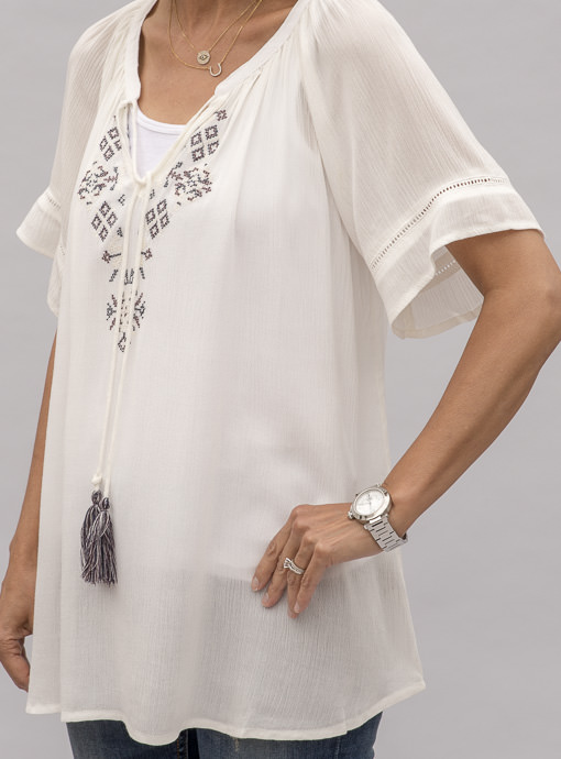 White Peasant Top With Embroidery
