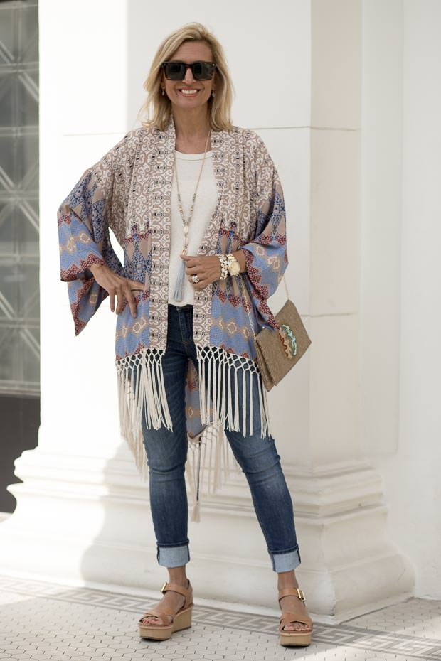 Geometric Print Kimono with fringe for women