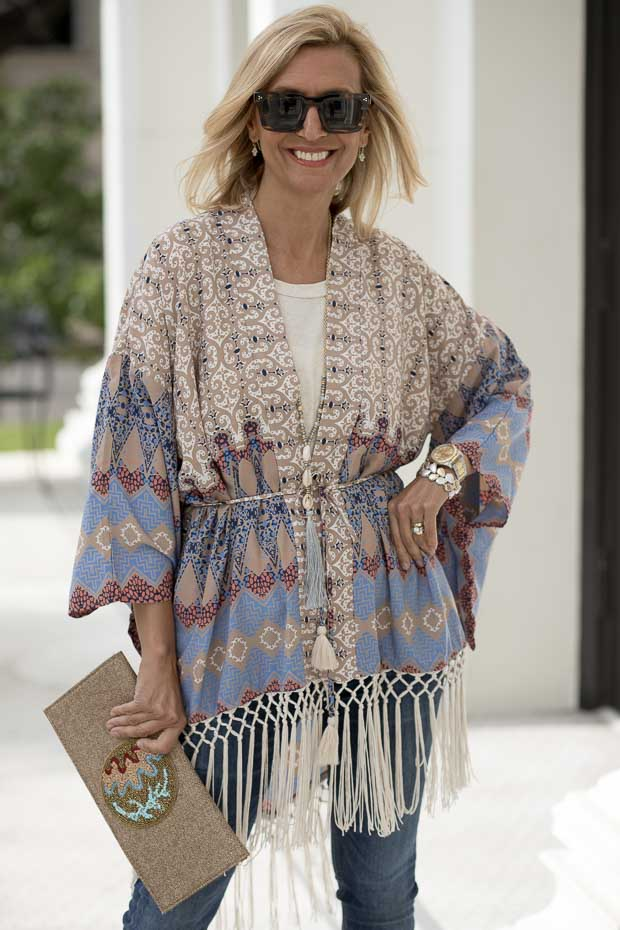 Geometric Print Kimono with fringe for women belted