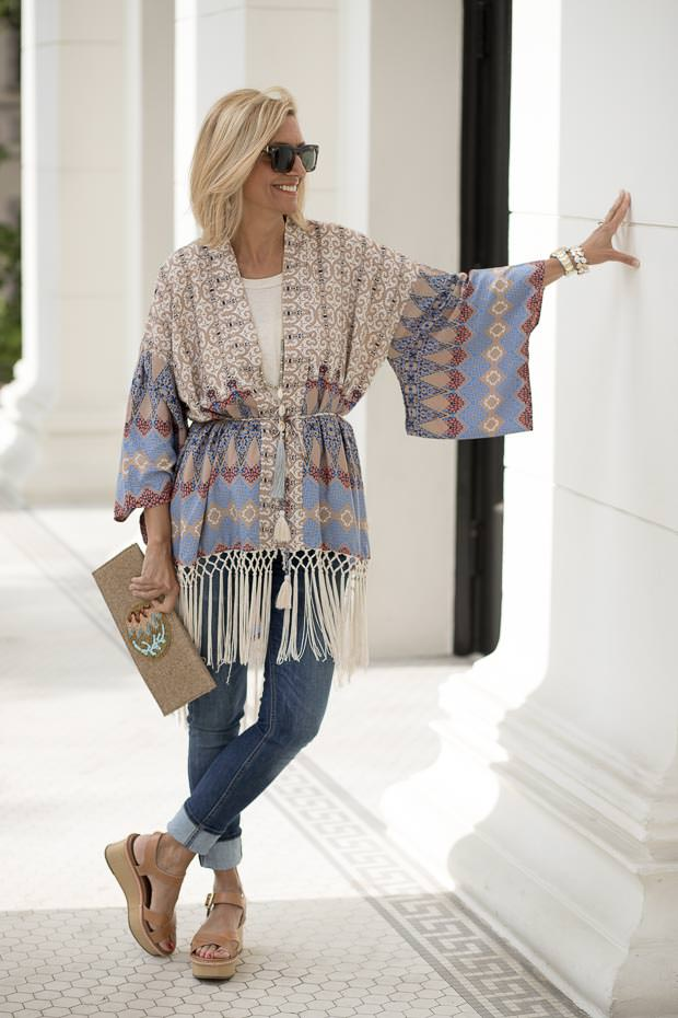 Geometric Print Kimono with fringe for women sleeve