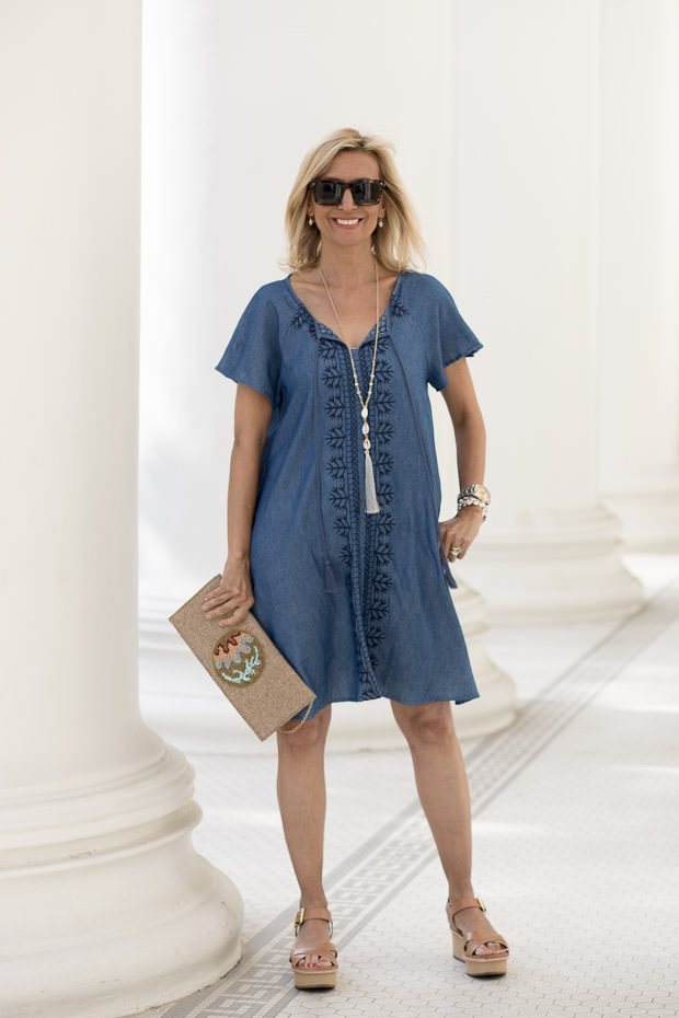 Womens Embroidered Denim A Line Dress