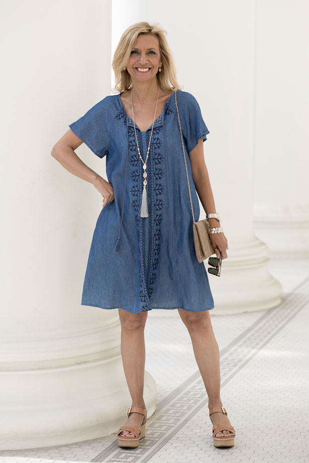 Womens Embroidered Denim Dress