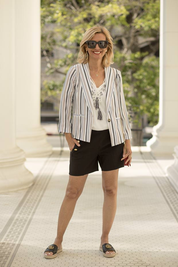 Womens Summer Stripe casual light weight Jacket