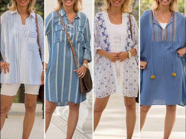 summer vacation looks for women in blue and white