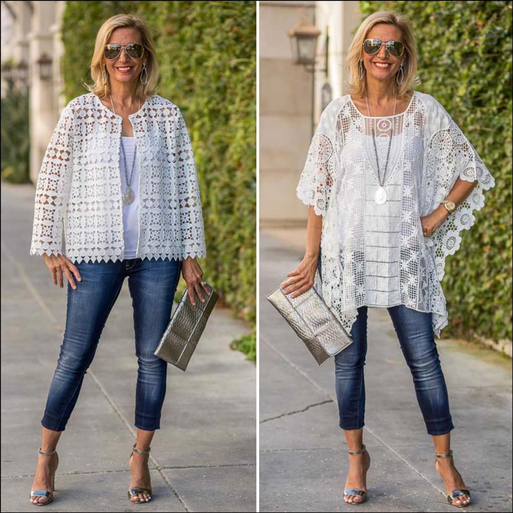 white lace cropped jacket and poncho for women