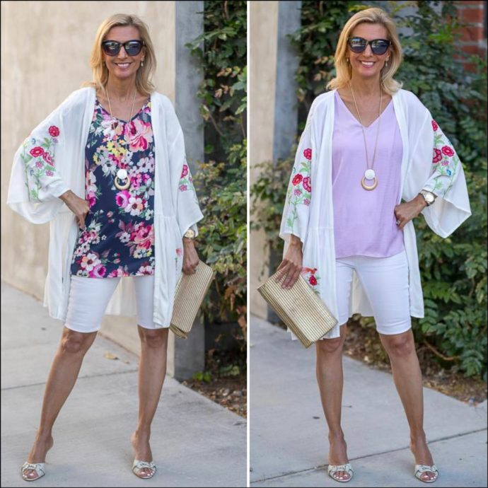white kimono with lilac and floral tops for summer women