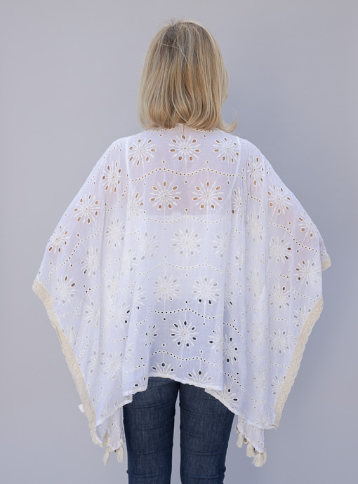 Off White Eyelet Embroidered Poncho Top With Beading