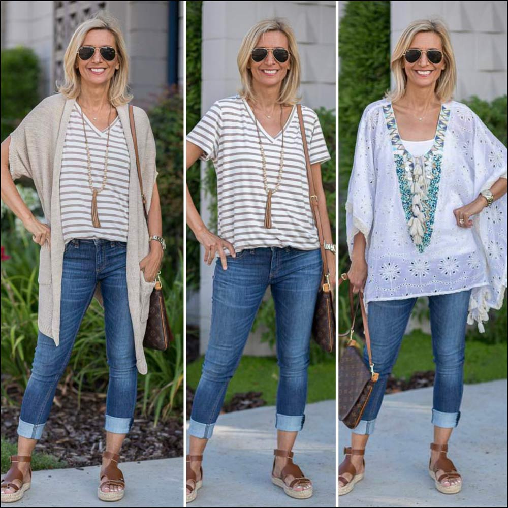 Neutral Tans and Ivory color T Shirt Poncho Top for Summer