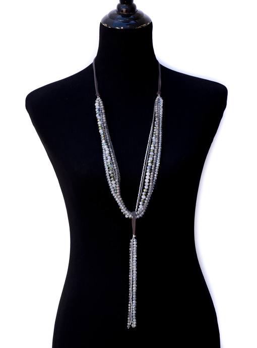 Adjustable Multi Layer Gray Bead Necklace