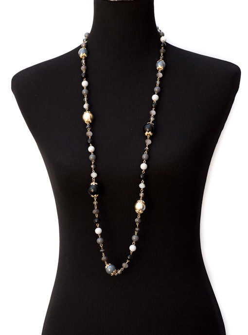 Black Gray Gold Bead Necklace