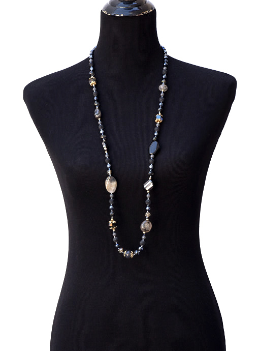 Black Gray Stone And Iridescent Bead Necklace