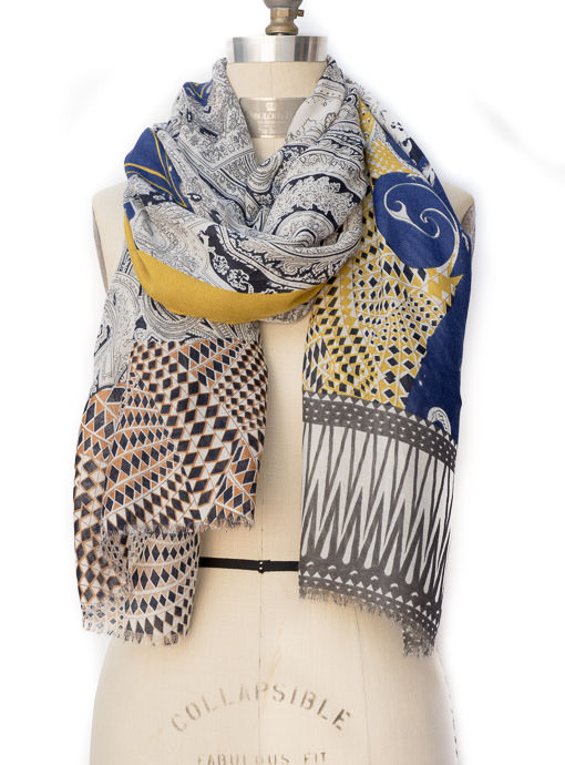 Blue Mustard Gray Multi Pattern Print Scarf Shawl
