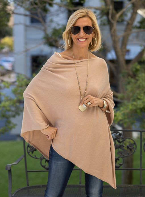 Camel Cashmere Blend Pull On Poncho