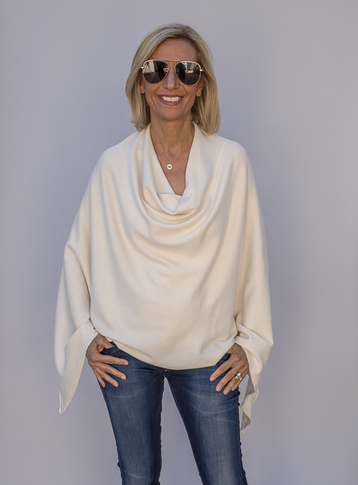 Ivory Cashmere Blend Pull On Poncho