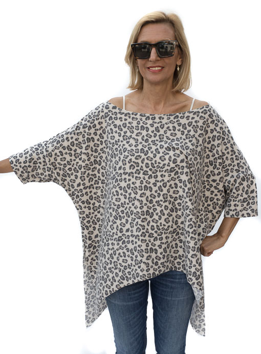Leopard Print French Terry Knit Poncho Top