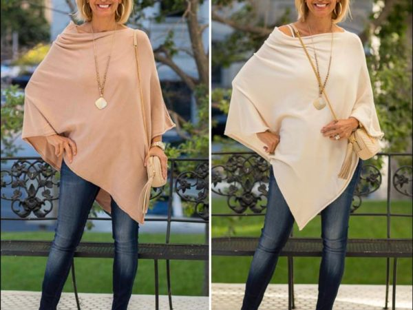 womens cashmere blend asymmetrical ponchos in camel and Ivory