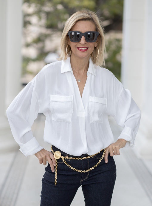 White Pull On Shirt With Double Pockets