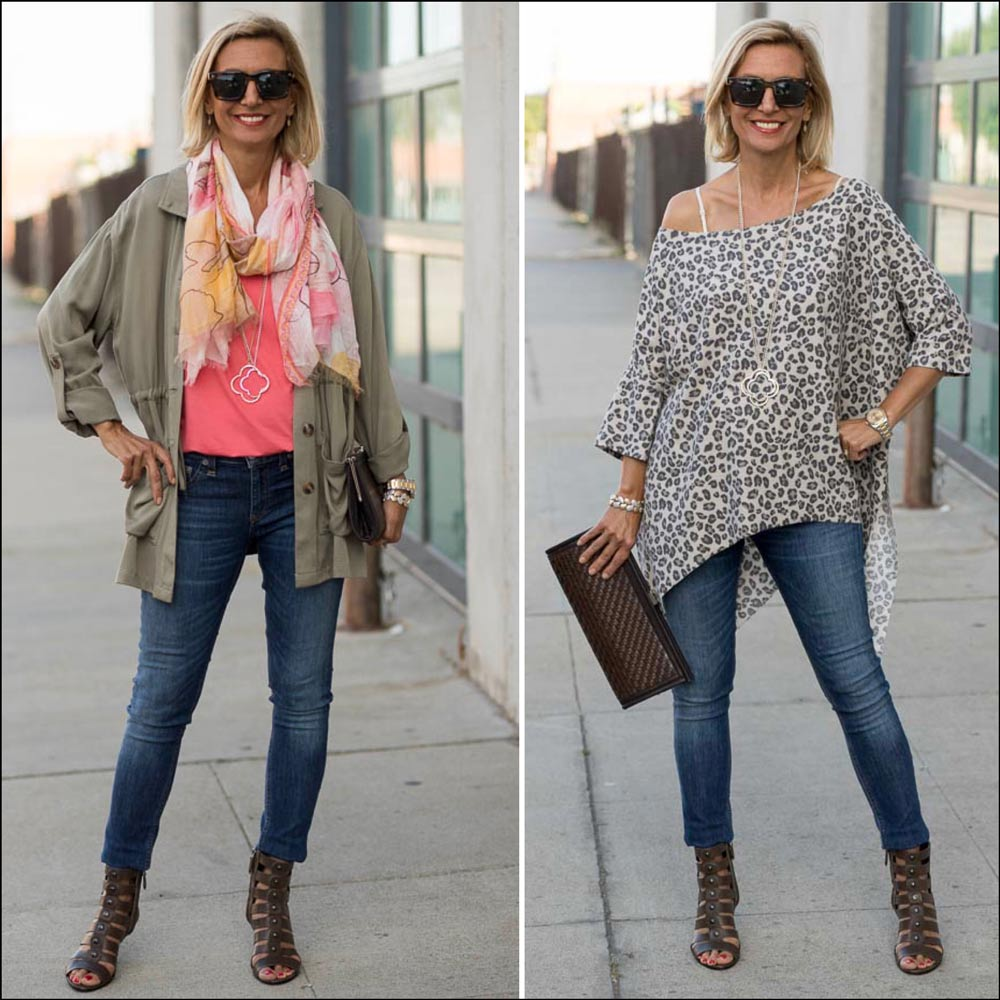 leopard print poncho top styled with Olive cargo jacket and coral v neck top for women