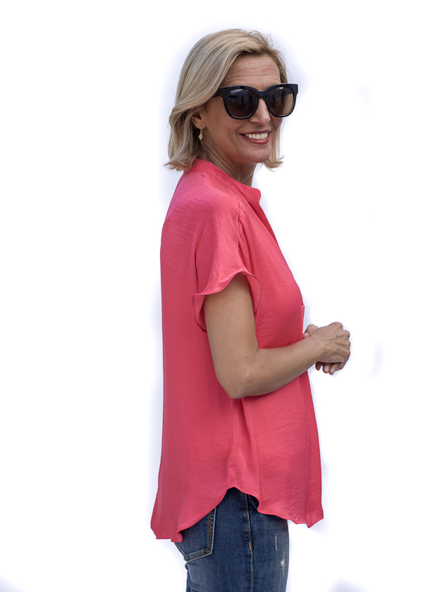 Watermelon Stand Collar Short Sleeve Blouse