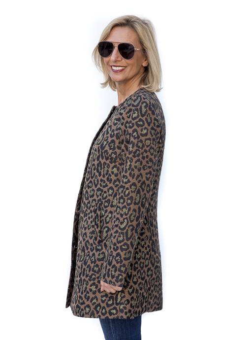 Black Copper Leopard Jacquard Jacket