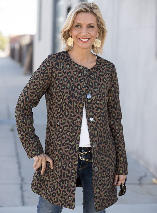 womens jacquard Leopard Jacket in copper black and gold