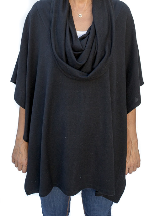 Black Cowl Neck Pull On Poncho