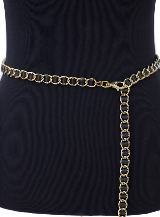 Black Leather And Gold Tone Chain Link Belt