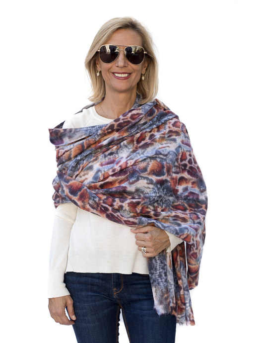 Blue Rust Brushed Leopard Print Shawl Wrap