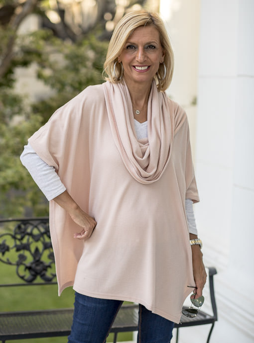 Blush Cowl Neck Pull On Poncho