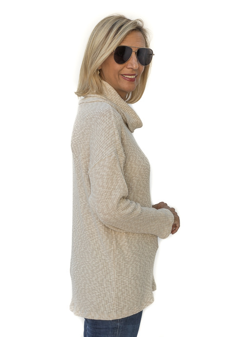 Butter Textured Knit Cowl Neck Top