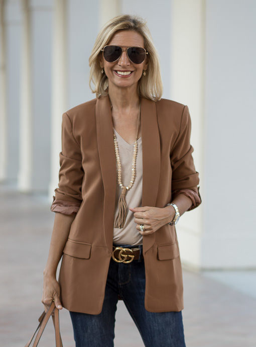 Chestnut Shawl Collar Open Front Blazer