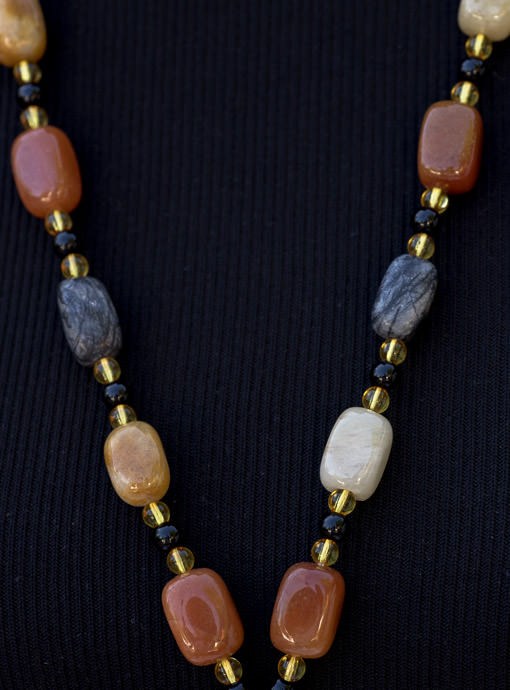 Earth Tone Stone And Bead Necklace