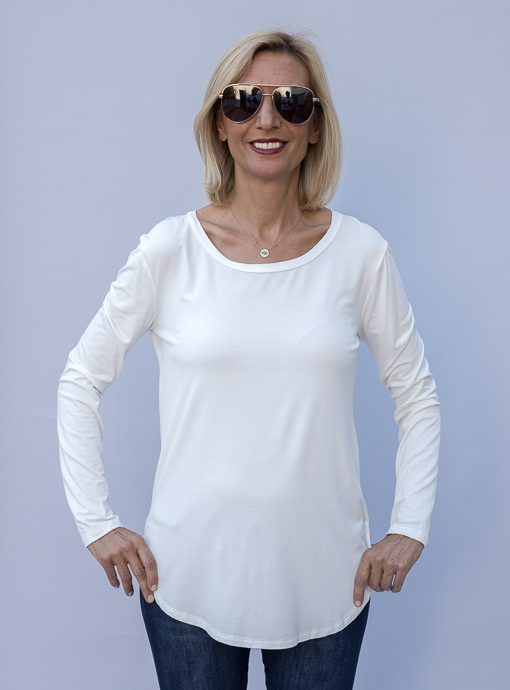 Ivory Round Neck Long Sleeve Top