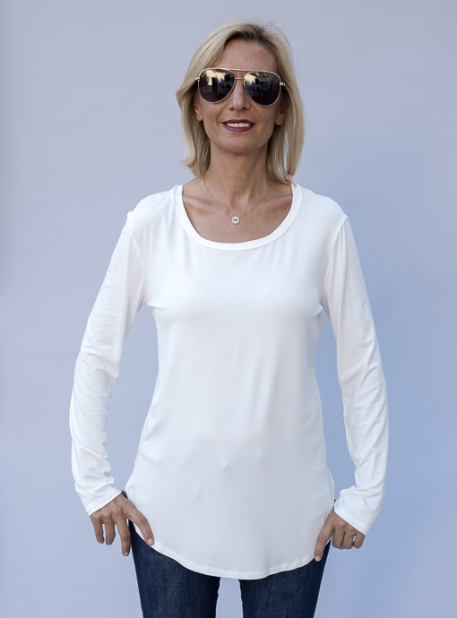 Ivory Round Neck Long Sleeve T Shirt