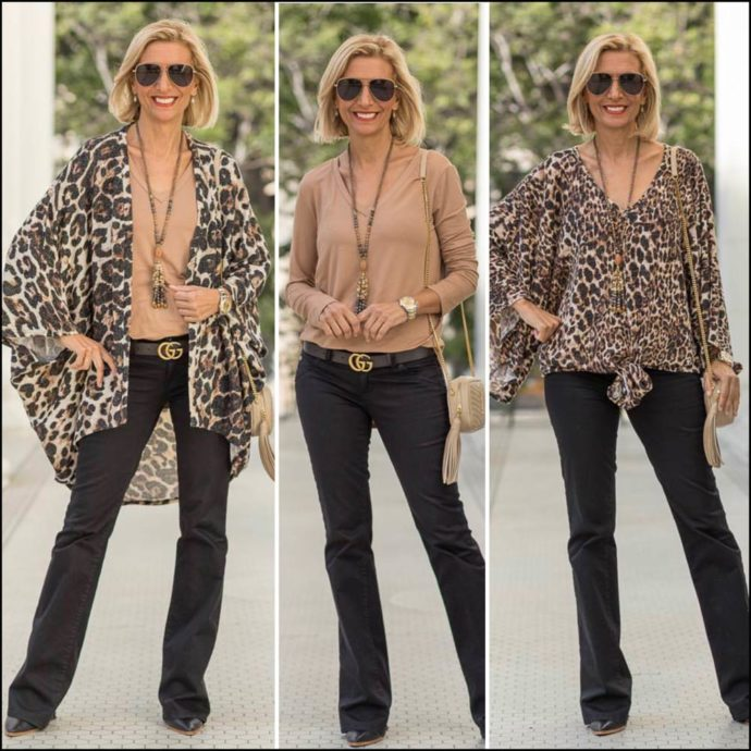 womens fall leopard print kimono and cardigan
