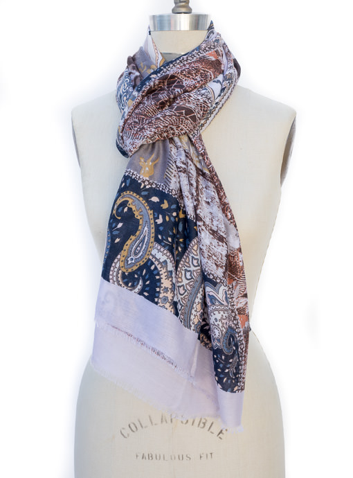 Ivory Multi Color Patch Work Print Scarf Shawl