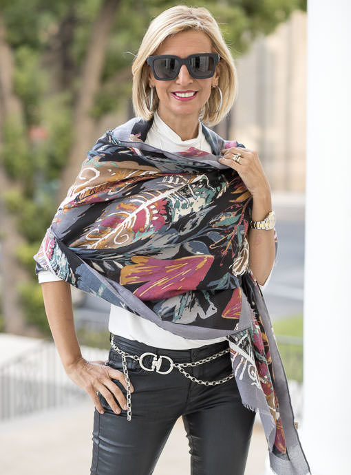 Multi Color Leaf And Scroll Print Scarf Shawl