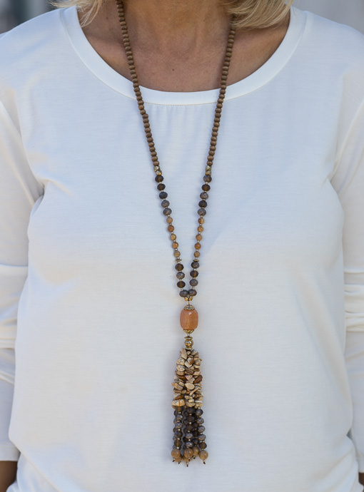 Brown Tan Bead Necklace With Bead Fringe
