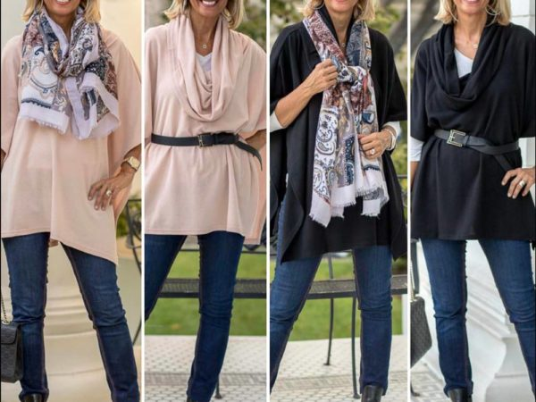 New Cowl neck Ponchos for women in Black and Blush are perfect for fall style