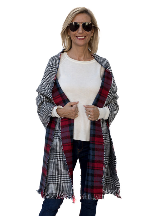 Red Black Blue Reversible Plaid Houndstooth Shawl Wrap