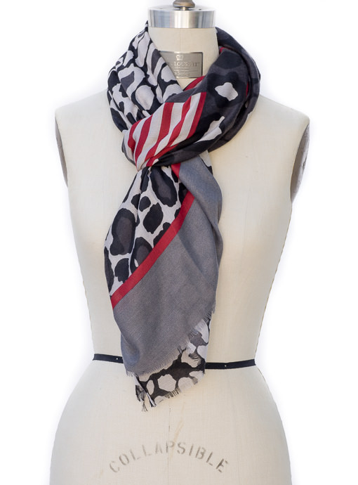 Black Gray Red Leopard Stripe Scarf Shawl