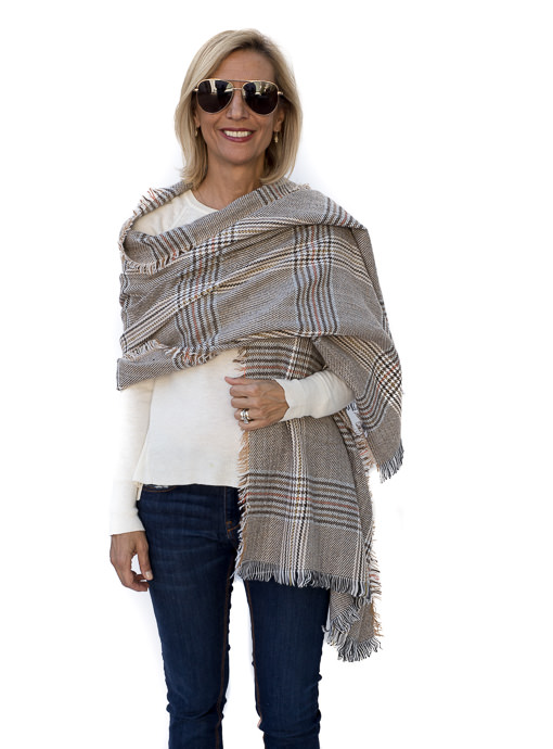 Tan Brown Houndstooth Plaid Shawl Wrap