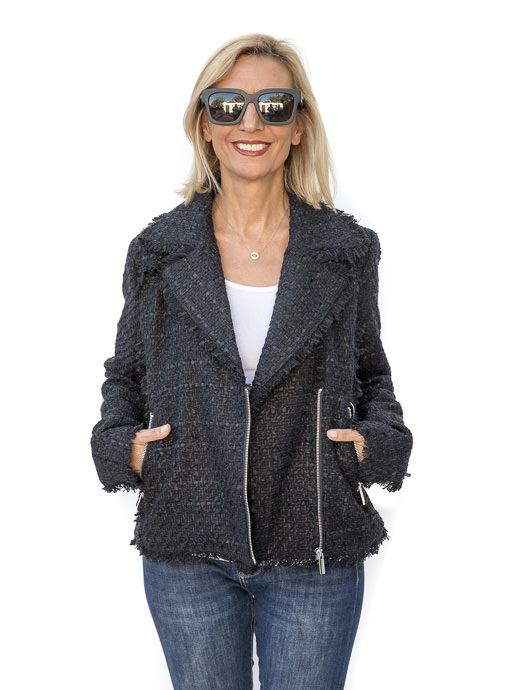 The Ebony Boucle Moto Jacket