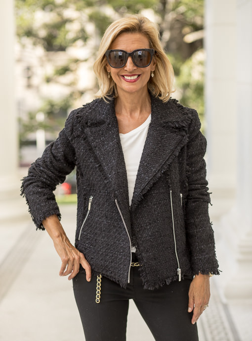 The Ebony Moto Boucle Jacket