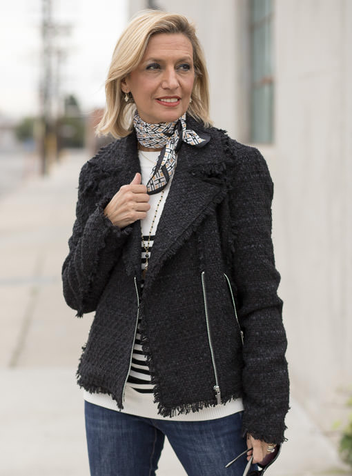 womens black boucle moto jacket trendy and fun